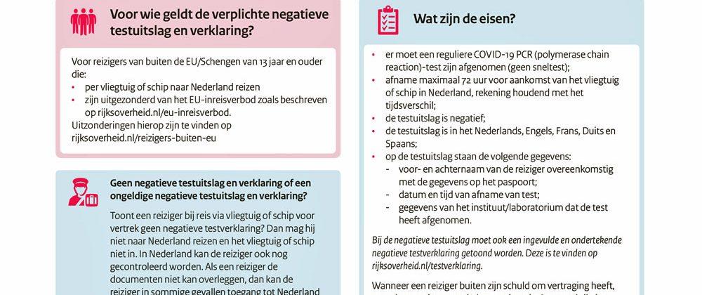Negatieve COVID-19-testuitslag en verklaring verplicht voor reizigers van buiten de EU/Schengen