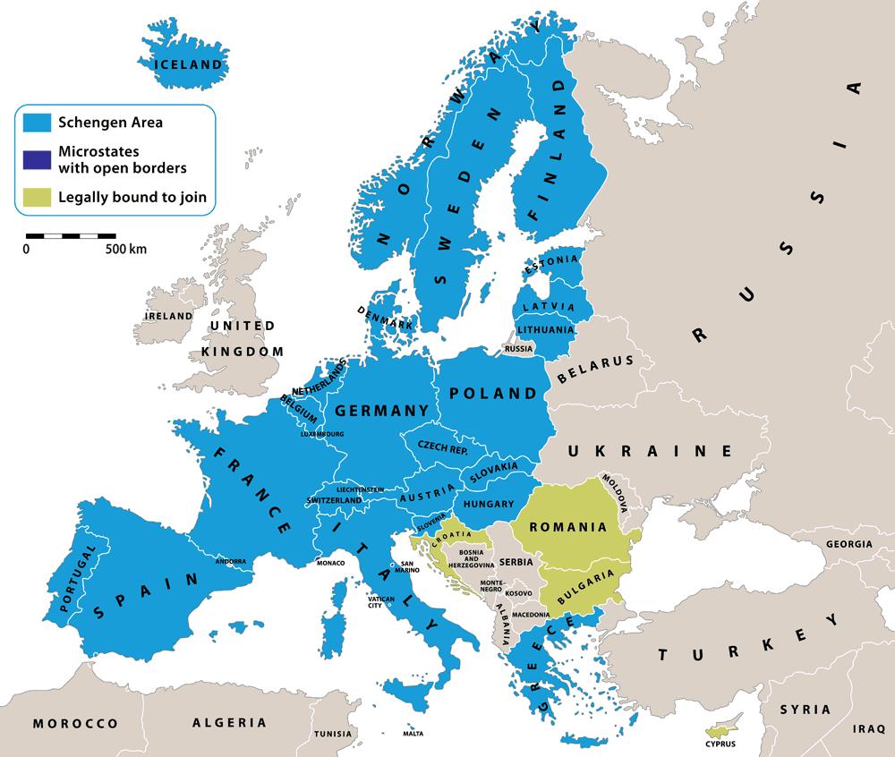 De 26 landen van het Schengengebied